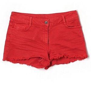 Sandro | High Waisted Denim Red Shorts